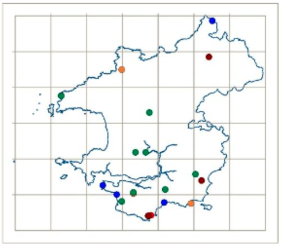 DNA-barcode mapping of members of the blackening waxcap (Hygrocybe conica) complex in Pembrokeshire.